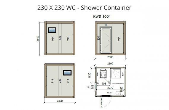KW2 230X230 Wc - Sprchový kontajner