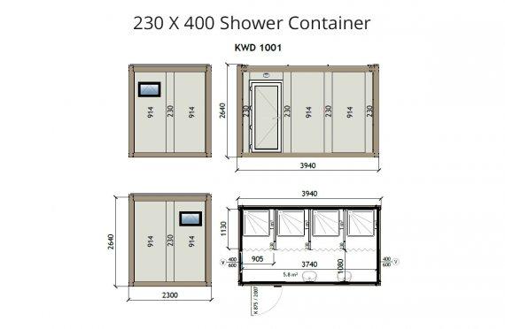 KW4 230X400 sprchový kontajner