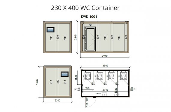 KW4 230X400 WC kontajner