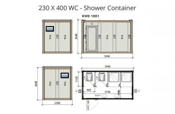 KW4 230X400 WC - Sprchový kontajner
