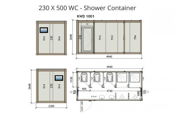 KW6 230X500 Wc- sprchový kontajner
