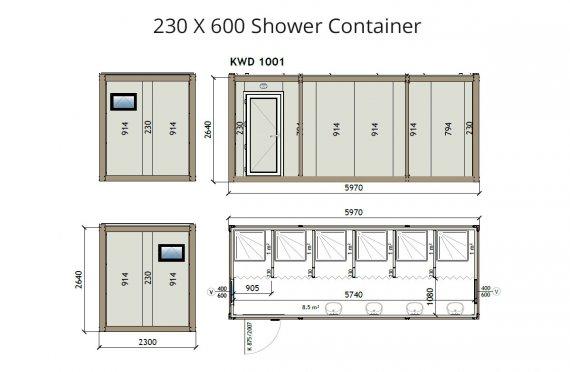 KW6 230X600 sprchový kontajner