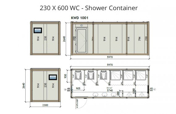 KW6 230X600 Wc kontajner