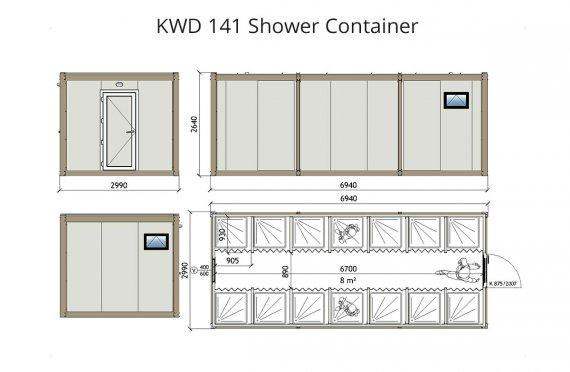 KWD 141 Sprchový kontajner